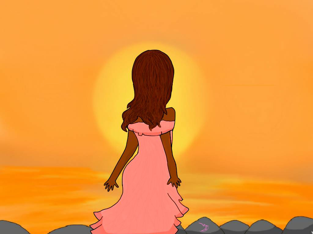 Lisa gazing at the sunset over the ocean by Fatimah Soltanian Fard Jahromi